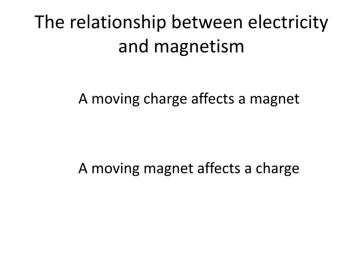 The relationship between electricity and magnetism