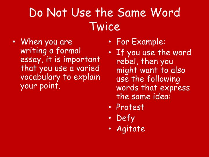 Do Not Use the Same Word Twice
