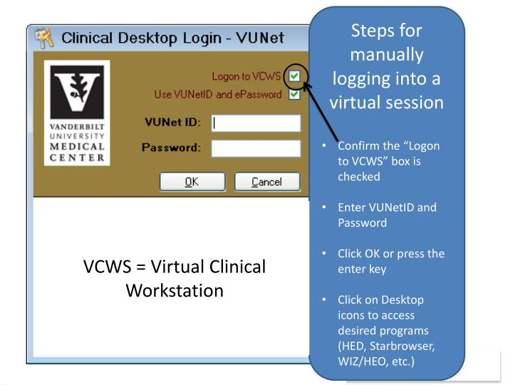Steps for manually logging into a virtual session