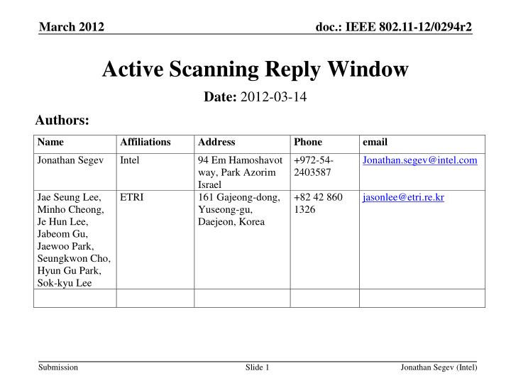 active scanning reply window n.