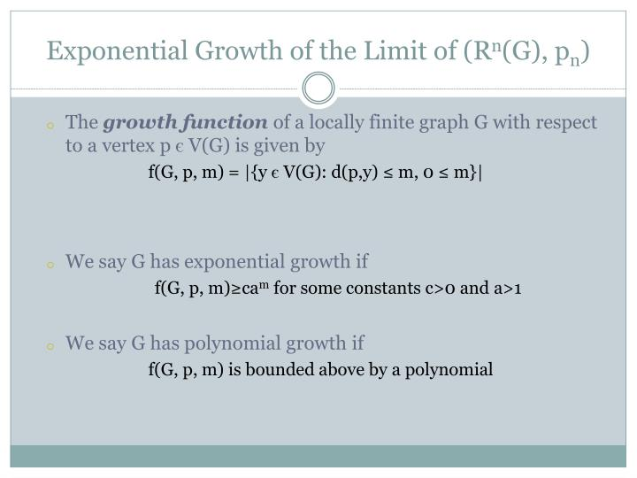 Exponential Growth of the Limit of (R