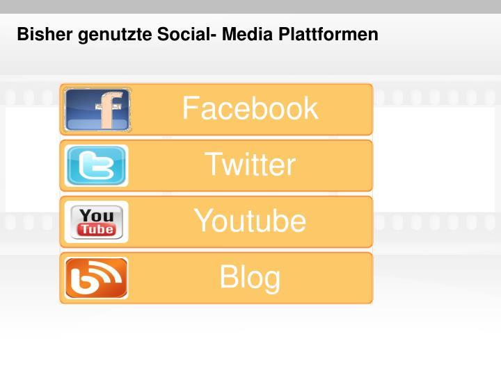 Bisher genutzte social media plattformen