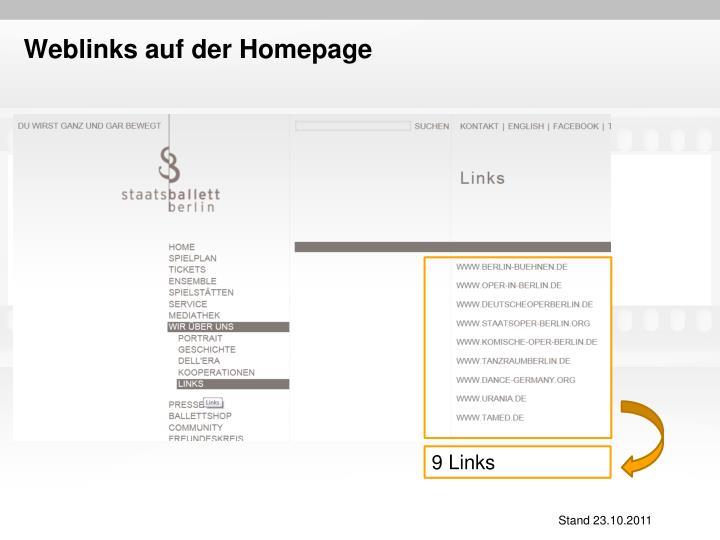 Weblinks auf der Homepage
