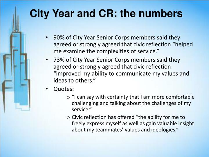 City Year and CR: the numbers