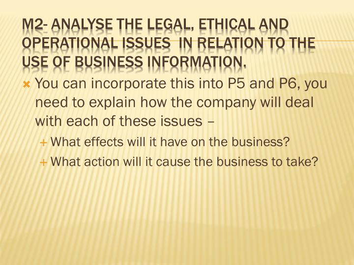 "m2 analyse the legal ethical and operational issues in relation to the use of business information Understand the issues and constraints in relation to the use of business information legal, ethical and operational ethical issues facing modern business"" (m2."