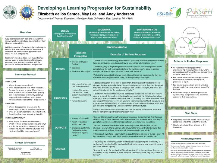 Developing a Learning Progression for Sustainability