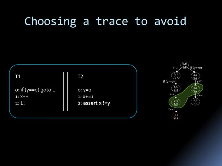 Choosing a trace to avoid