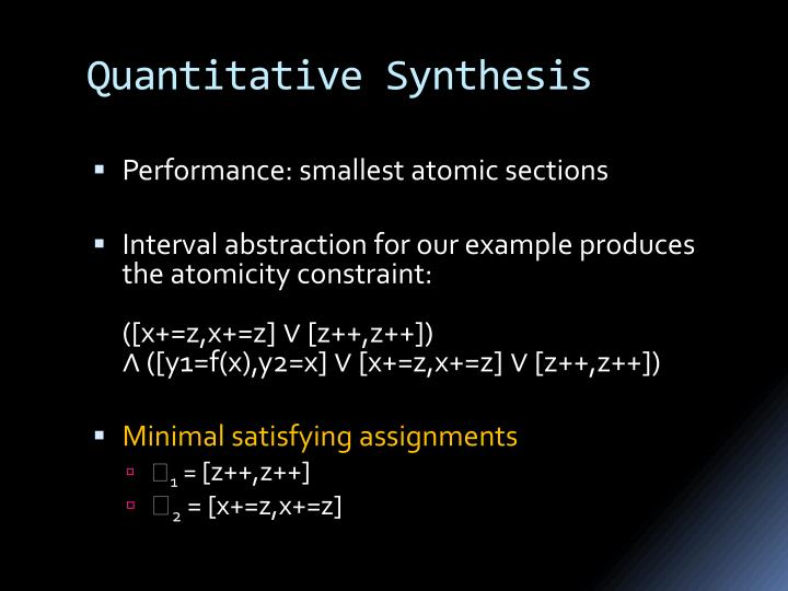 Quantitative Synthesis