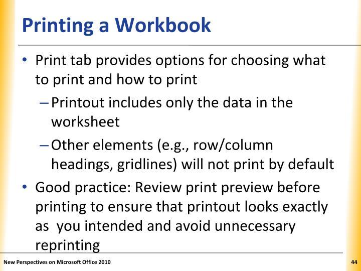 Printing a Workbook