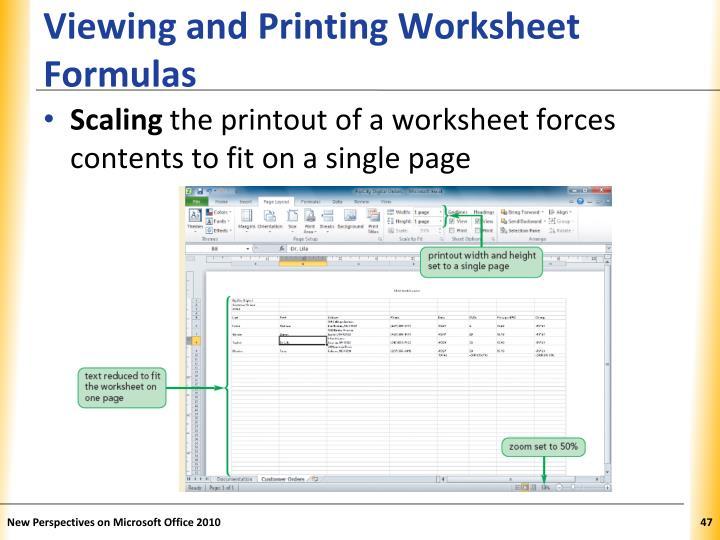Viewing and Printing Worksheet Formulas