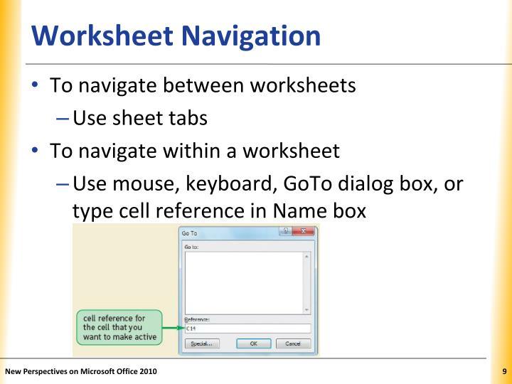 Worksheet Navigation