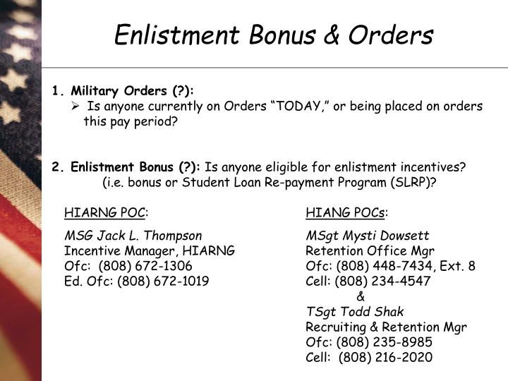 Air Force Enlistment Bonus 2020 List.Ppt Enlistment Bonus Orders Powerpoint Presentation Id