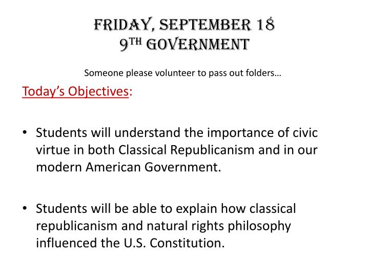 friday september 18 9 th government n.