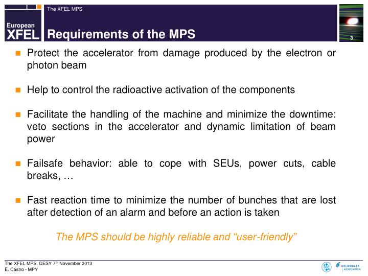 Requirements of the mps