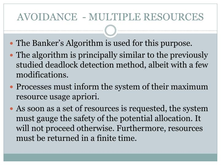 AVOIDANCE  - MULTIPLE RESOURCES