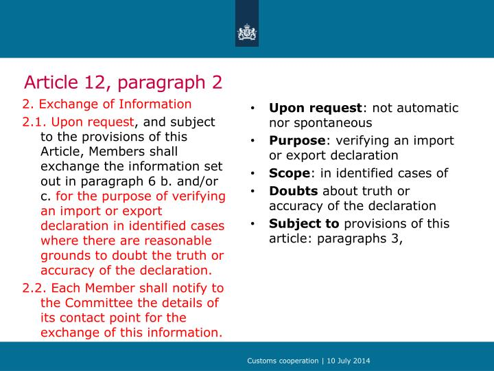 Article 12 paragraph 2