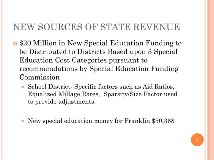 NEW SOURCES OF STATE REVENUE