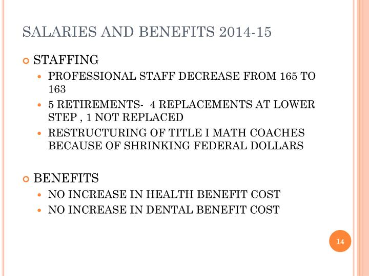 SALARIES AND BENEFITS 2014-15