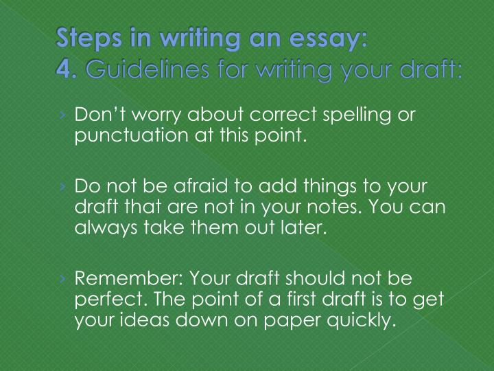 rules in writing an essay General essay writing guidelines an essay is a written argument or discussion the purpose of an essay is to say something about an issue or a topic in a clear, logical manner so that the reader understands the writer's points and is convinced that they make sense.