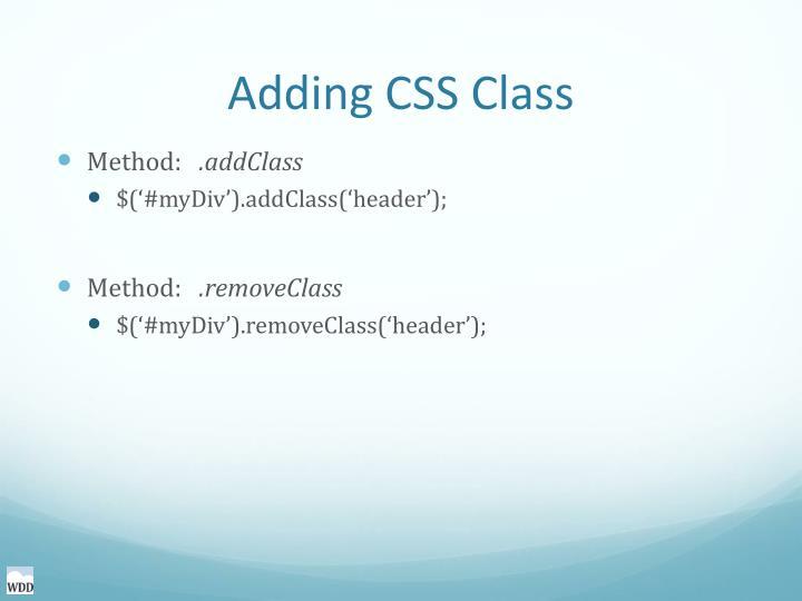Adding CSS Class