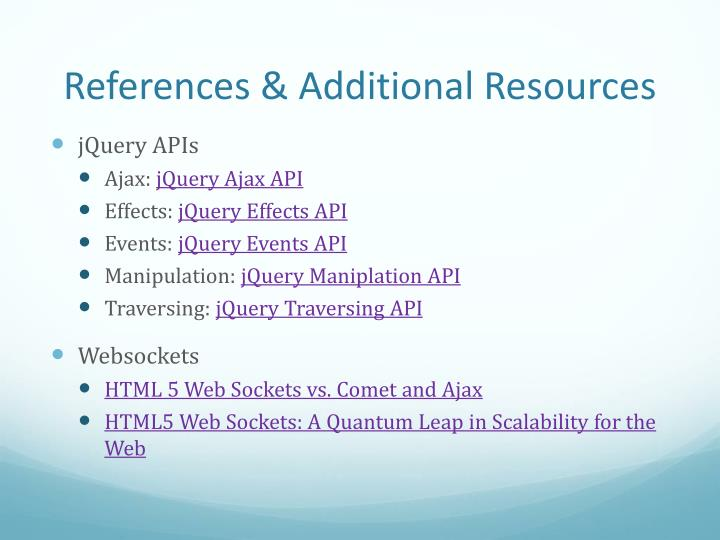 References & Additional Resources