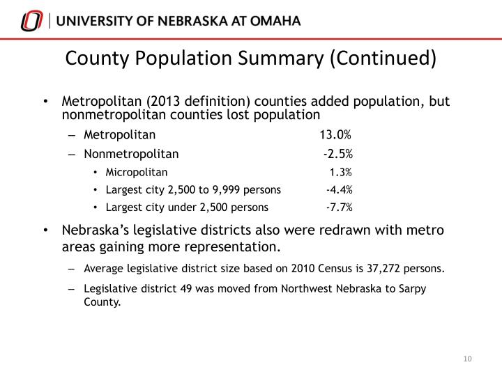 County Population Summary (Continued)