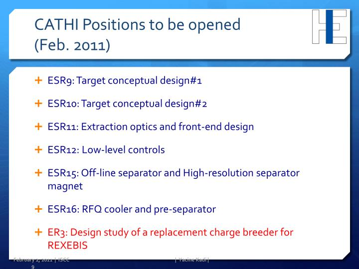 CATHI Positions to be opened