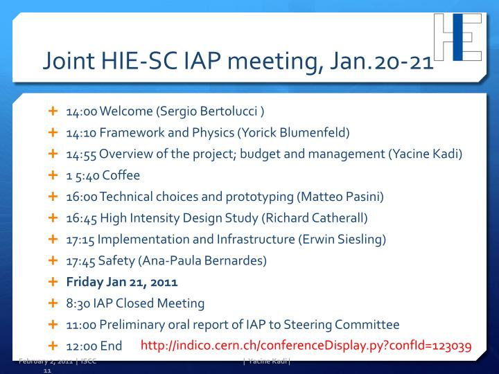 Joint HIE-SC IAP meeting, Jan.20-21