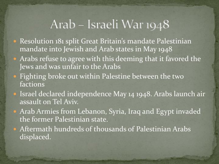 Arab – Israeli War 1948