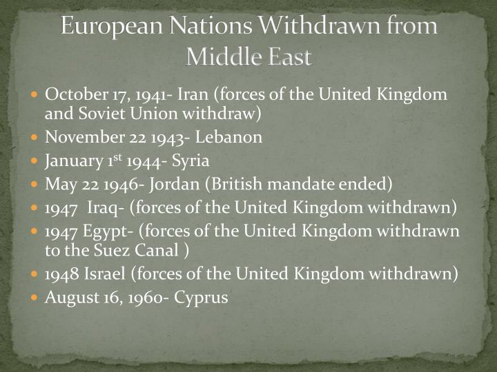 European Nations Withdrawn from Middle East