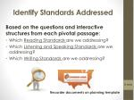 identify standards addressed