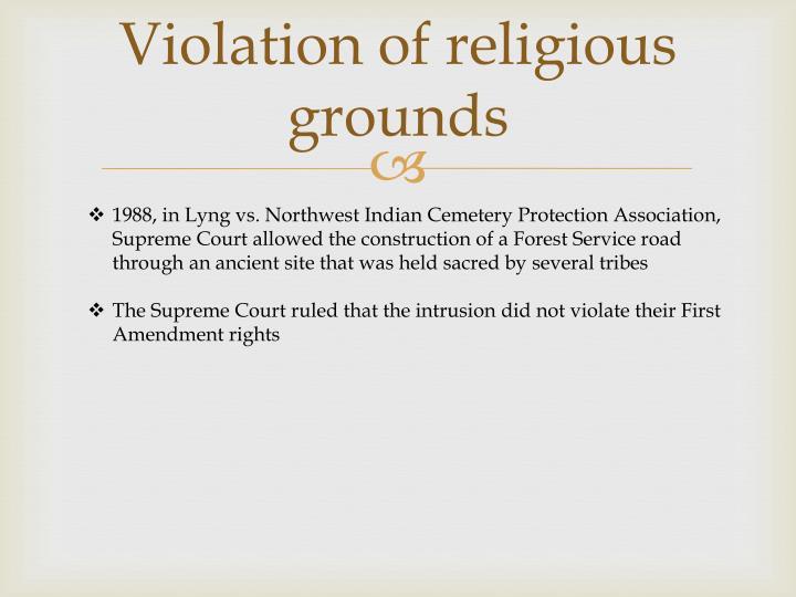 Violation of religious grounds