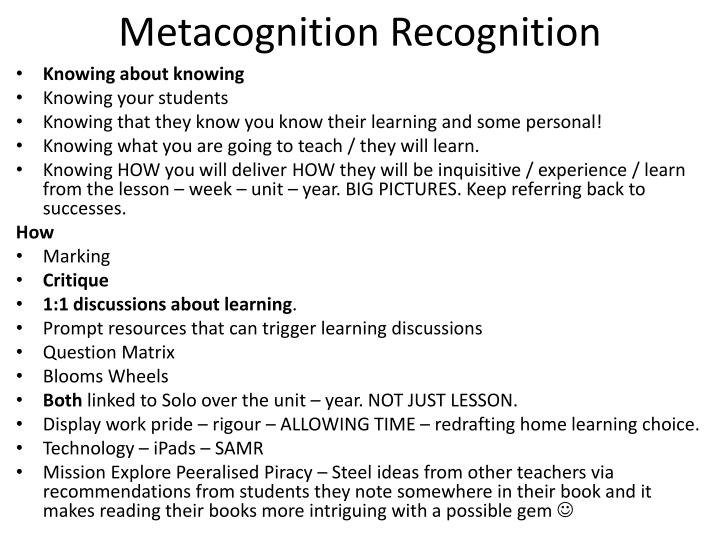 Metacognition recognition