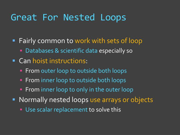 Great For Nested Loops