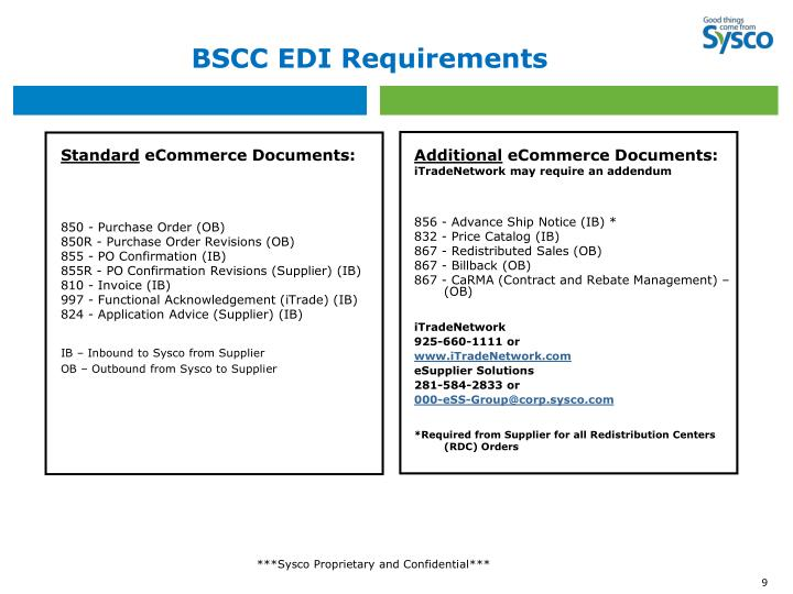BSCC EDI Requirements