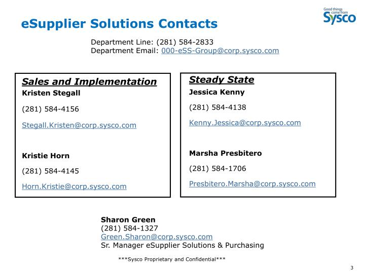 Esupplier solutions contacts
