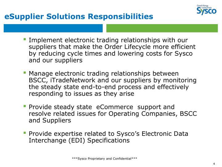 eSupplier Solutions Responsibilities