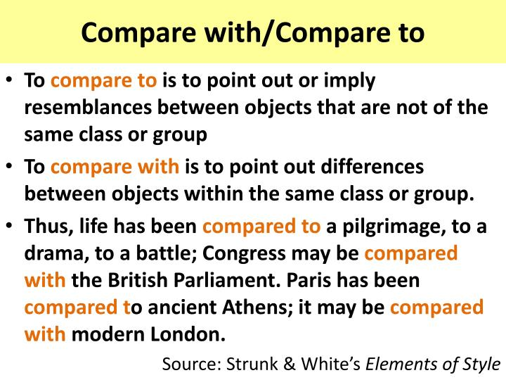 compare with compare to n.