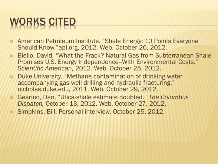 """American Petroleum Institute. """"Shale Energy: 10 Points Everyone Should"""