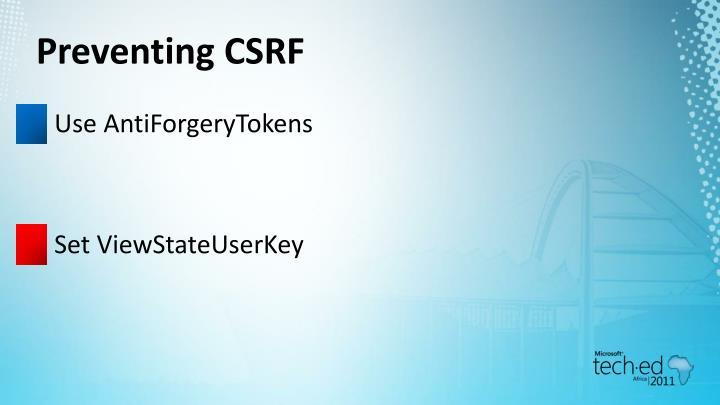Preventing CSRF