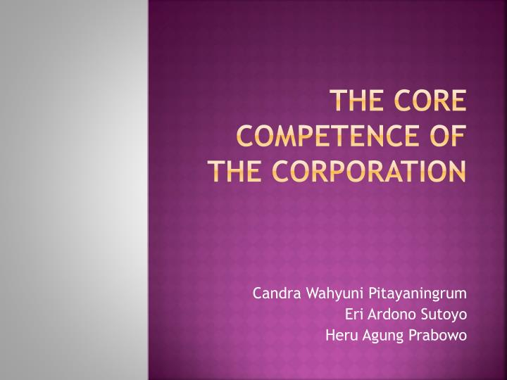 the core competence of the corporation n.