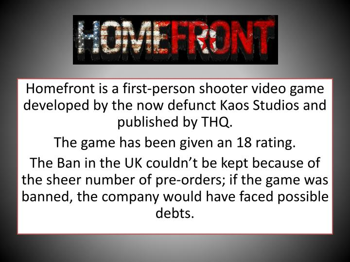 Homefront is a first-person shooter video game developed by the now defunct Kaos Studios and published by