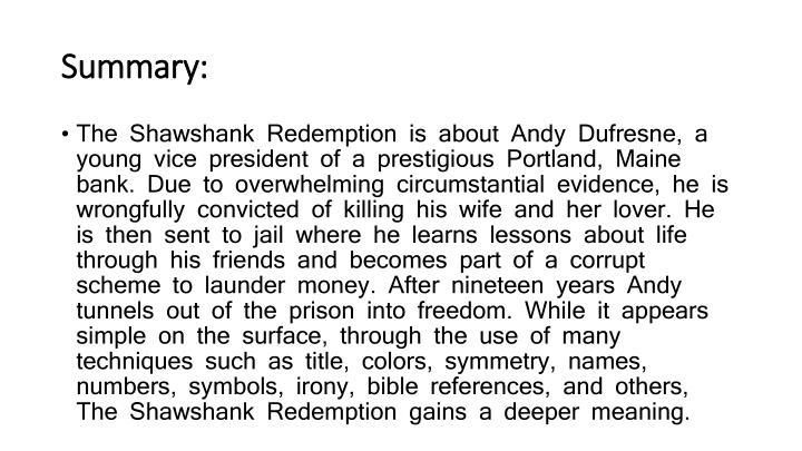 rita hayworth and shawshank redemption summary