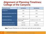 alignment of planning timelines college of the canyons