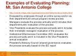 examples of evaluating planning mt san antonio college