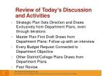 review of today s discussion and activities