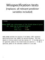 misspecification tests replaces all relevant predictor variables included