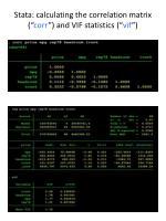 stata calculating the correlation matrix corr and vif statistics vif