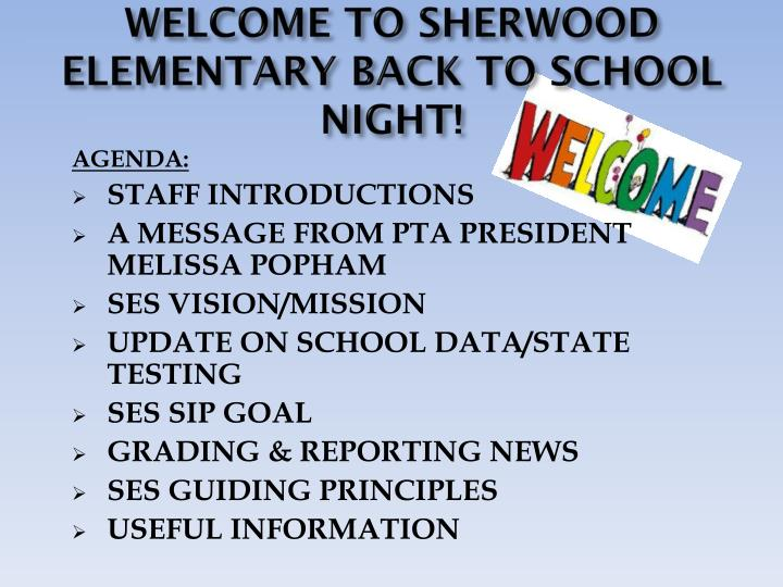 PPT - WELCOME TO SHERWOOD ELEMENTARY BACK TO SCHOOL NIGHT