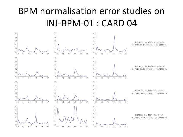 BPM normalisation error studies on INJ-BPM-01 : CARD 04